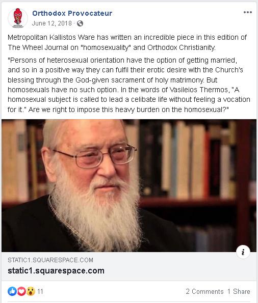 Orthodox Provovateur Embracing Metropolitan Kallistos Ware