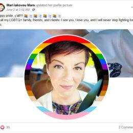 Mari Iakovou Mars Proudly and Publicly Celebrates LGBTQ Pride Month